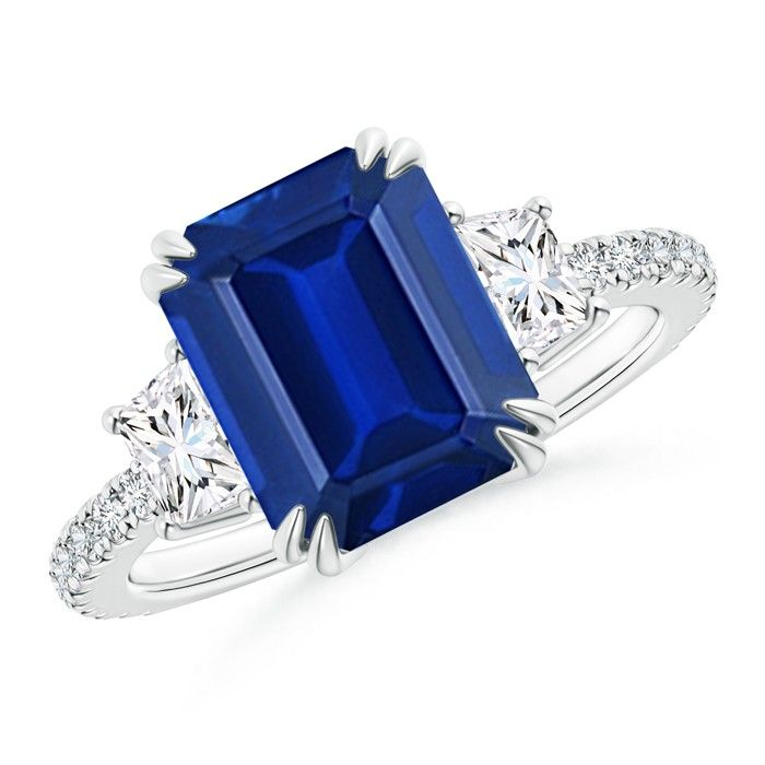Angara Blue Sapphire and Diamond Crossover Shank Ring in White Gold Mv7xDsvZG
