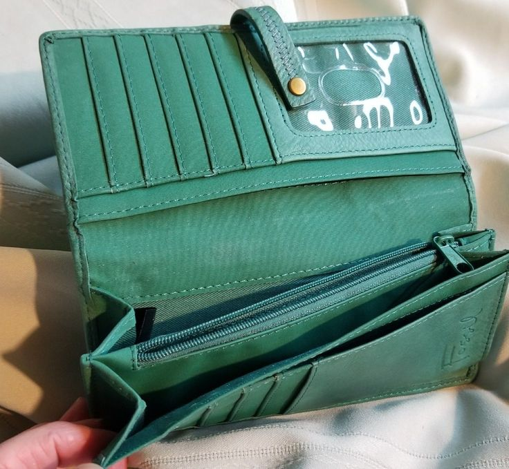 FOSSIL Multi Compartment patchwork green Leather Clutch Wallet Green | eBay