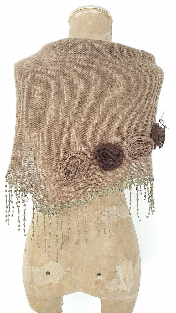Sweater Scarf Lace Fringe Boutique Rosette Victorian Wrap Dressy BOHO Lagenlook #Unknown #Scarf #Dressy
