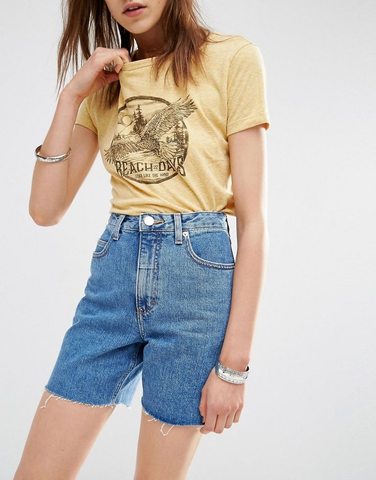 Image 3 of ASOS Ashley Longline Denim Shorts In Mighty Mid Wash