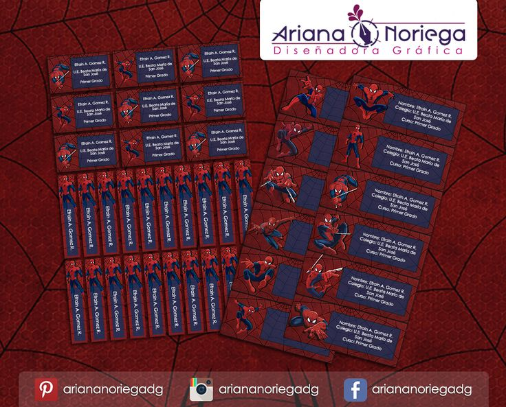 Kit Imprimible de #etiquetas personalizadas con el motivo #Spiderman. | 3 tamaños: 9 x 3,5 cm, 5 x 1 cm y 5 x 3 cm. |   Personalized and printable #labels pack - #Spiderman.  | 3 sizes: 9 x 3,5 cm, 5 x 1 cm and 5 x 3 cm. |   Tienda/Shop: https://arianadesignstore.etsy.com