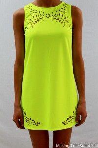 Laser cutout neon dress