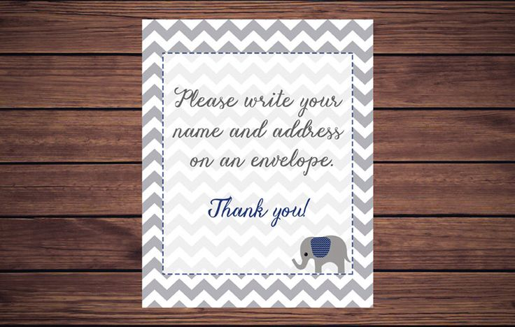 Address an Envelope Sign, Address an Envelope, Please write your name and address on an envelope Navy Elephant Gray Chevron Printable by DesignedbyGeorgette on Etsy https://www.etsy.com/listing/488414381/address-an-envelope-sign-address-an