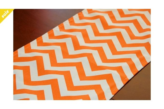 Table runner Orange Chevron by Luvlee Stuff on hellopretty.co.za