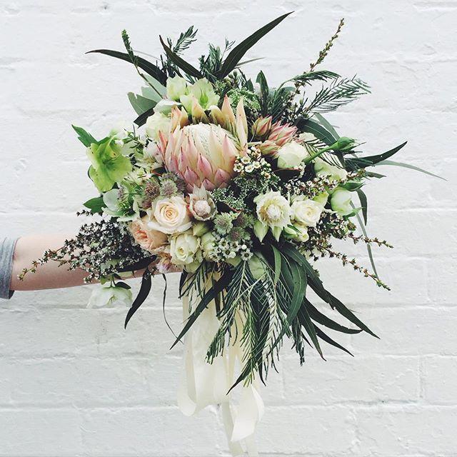 Pastels and natives for today's gorgeous bride! xx #weddingflowers #weddingbouquet #bridalbouquet #native #flowers #wedding #florist #vscocam #marymarystudio
