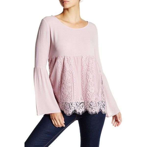 Jolt Bell Sleeve Lace Blouse ($25) ❤ liked on Polyvore featuring tops, blouses, pumi purpl, bell sleeve tops, long tops, lace tops, pink lace top and pink top