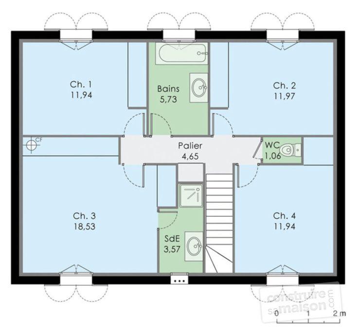 Les  Meilleures Images Du Tableau Plan Maison Rectangle  Aot Sur