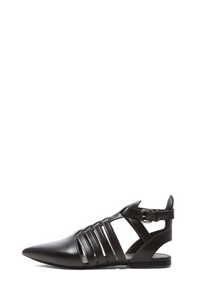 Proenza Schouler|Pointed Toe Leather Flats in Black