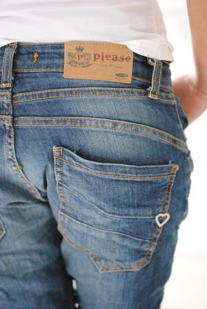 PLEASE JEANS back pocket, cute heart, feminine and instantly recognizable as Please pocket.