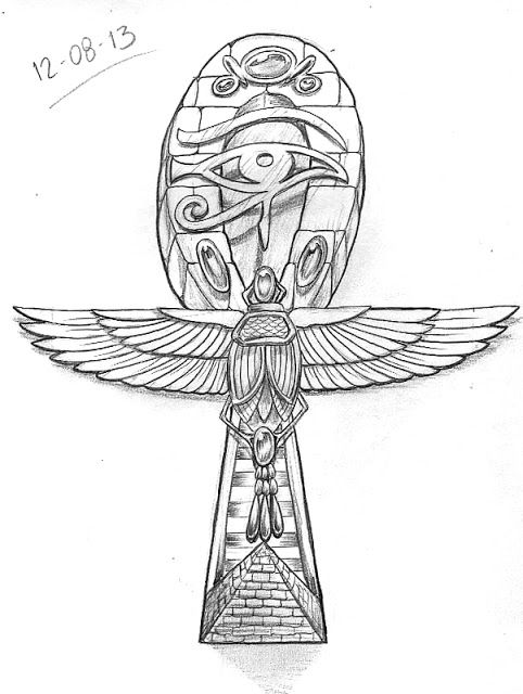Nefertiti Sketch | Day 224. Egyptian Ankh, made up from various different Egyptian ...