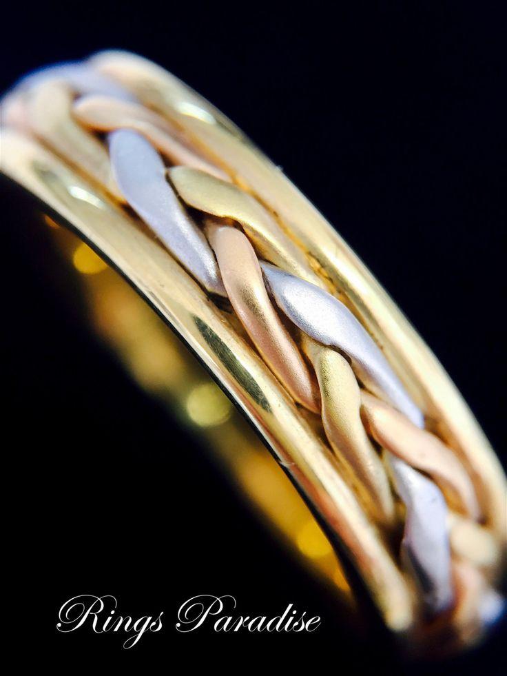 Celtic Ring, 14k Gold Celtic Wedding Band Set, Unique Celtic Wedding Ring, Celtic Engagement Ring, Pagan Jewelry, Celtic Jewelry, Irish Ring by RingsParadise on Etsy