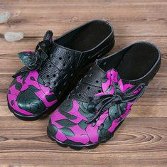 Socofy Original Leather Butterfly Print Silppers Flower Platform Retro Sandals Online - NewChic Mobile.