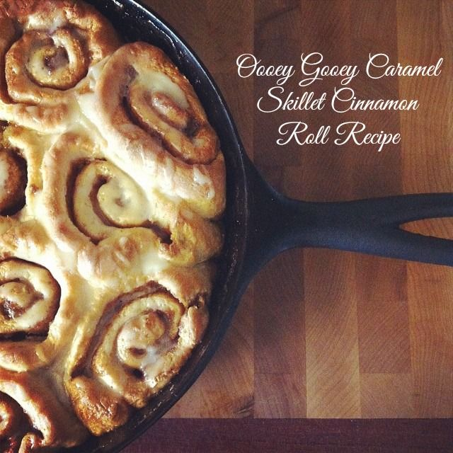 Canadian lifestyle and food blogger Sew Creative shares her Oooey Gooey Caramel Skillet Cinnamon Roll Recipe. Made in a cast iron frying pan, a delicious breakfast treat.