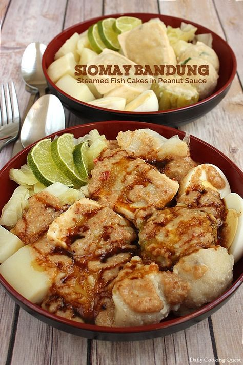 Indonesian Siomay Bandung - Steamed Fish Cakes in Peanut Sauce
