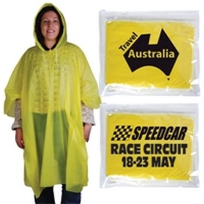 Reusable Customised Poncho In Pvc Zipper Pouch Min 100 - One size fits most adults. Yellow PVC poncho with drawstring hood. Packed folded in clear PVC pouch for reuse. Ideal for outdoor concerts, motor sports, school and club events, fishing and camping. http://www.promosxchange.com.au/reusable-customised-poncho-zipper-pouch/p-11357.html