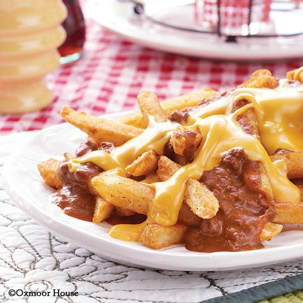 Gooseberry Patch Recipes: Kickin' Chili Fries...so easy to put together with only 3 ingredients.