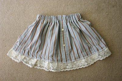 toddler skirt from a man's shirt. http://candacetodd.blogspot.com/2010/03/mens-shirt-to-toddler-skirt.html