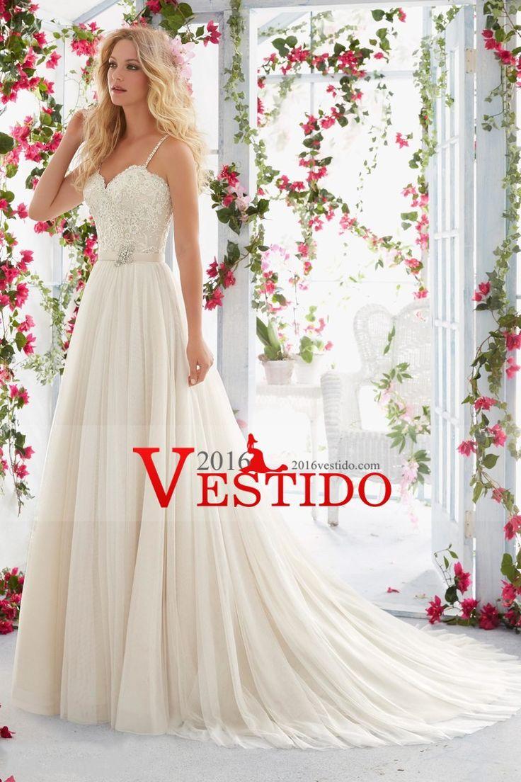 2016 Sexy espalda abierta spaghetti straps una línea vestidos de novia de tul con apliques Y Sash