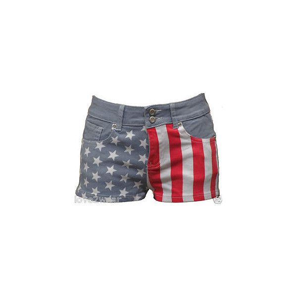 NEW Ladies denim shorts women hot pants jeans USA American flag sizes... ❤ liked on Polyvore featuring shorts, mini denim shorts, hot denim shorts, hot short shorts, short jean shorts and denim short shorts