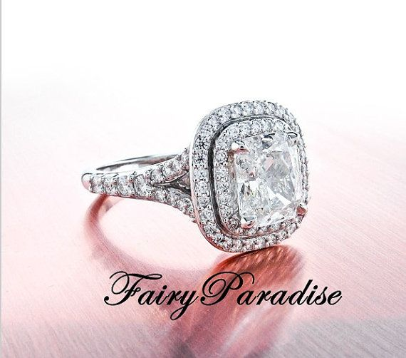Art Deco 2 Ct  Rectangle Cushion Cut Lab Made Diamond  Tiffany Inspired Double Halo set Split Shank Engagement Wedding Promise Cocktail Ring