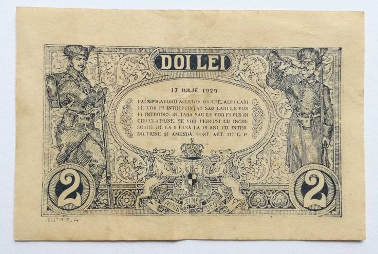 Doi lei, two lei vintage 1920 banknote Romania, old paper money note, collectibles Transylvania, circulated rare banknote Eastern Europe