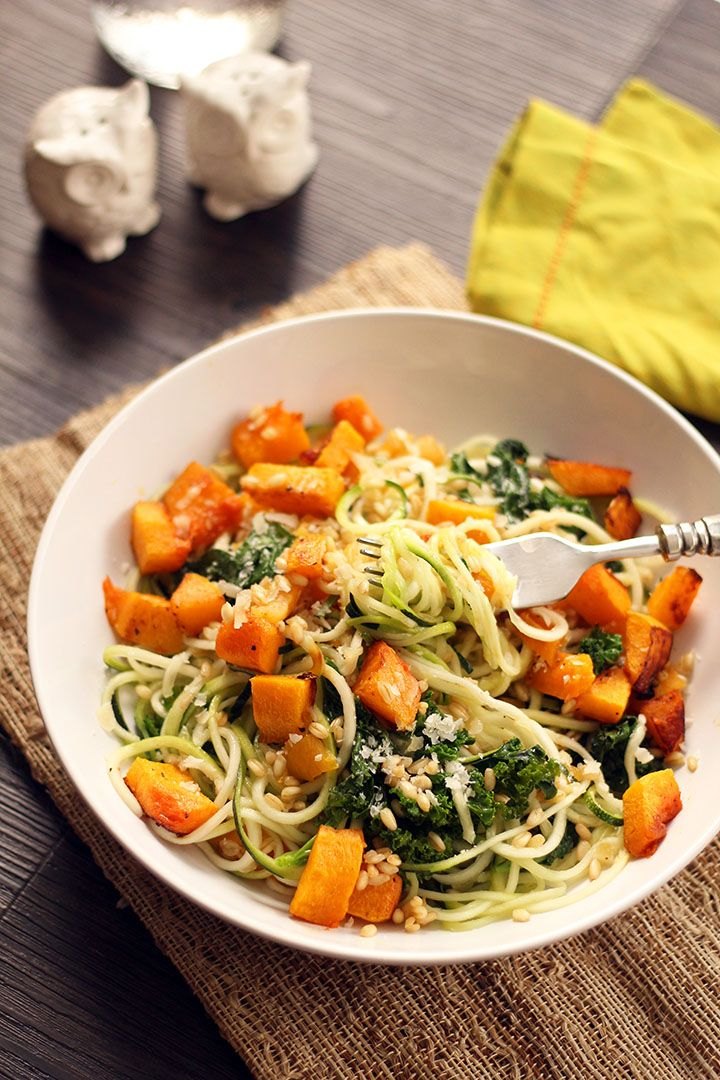 ... Butternut Squash Zucchini Pasta with Kale, Apricots and Wheatberries