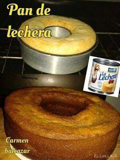PAN DE LECHERA 1 lechera 2 tazas de harina cernida 4 huevos 2 barras de mantequilla de 90 gramos 2 cucharaditas de royal Un chorrito de vainilla bate la lechera con la vainilla agregar los huevos unos a uno agrega la mantequilla y se bate hasta integrar muy bien agrega la vainilla adiciona la harina cernida junto con la royal engrasa un molde y se enharina vacía la mezcla y se hornea a 180 grados por 45 minutos o checar si esta cocido con un cuchillo que debe salir limpio