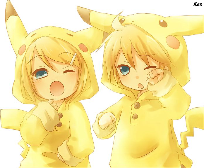 Kawaii cute anime siblings in pikachu costume - pokemon cuteness!