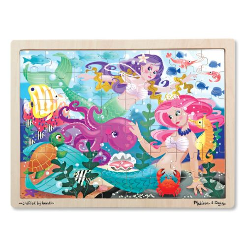 Mermaid Fantasea Jigsaw  Mermaids and marine creatures live happily together in this wonderful jigsaw puzzle.  	The 48 wooden pieces fit neatly into the puzzle board when assembled by your little puzzle lover.