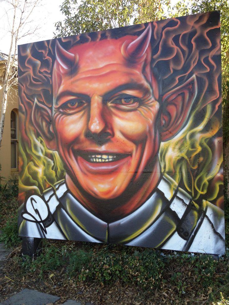 Melbourne Street Art Prahran Australian Prime Minister Tony Abbott. #georginaRussell
