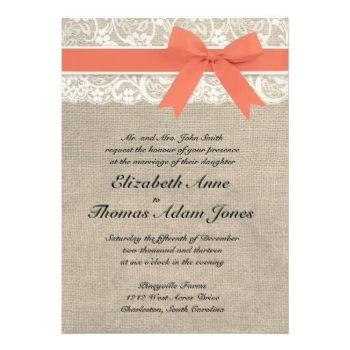 coral rustic weddings   ... Invitations   Ivory Lace Rustic Burlap Wedding Invitation- Coral