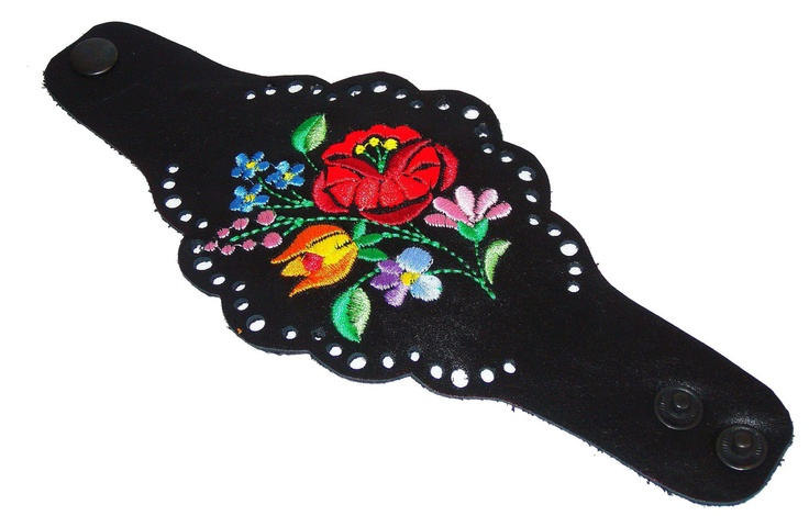 Handmade Hungarian Kalocsai emroidered  black clothing item (centrepiece of a belt?) designed by UniqueByAnda
