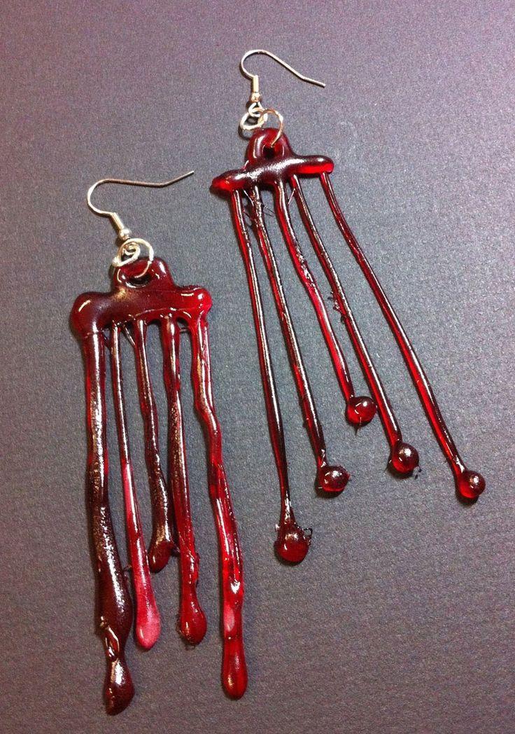 Hot Glue Blood Drip Earrings    DIY Halloween Earrings