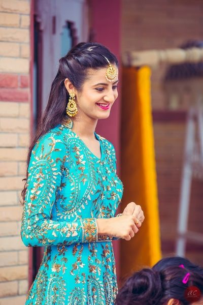 turquoise anarkali, gota patti anarkali turquoise and gold , blue anarkali, floor length gown, engagement gown, high collar, chinese collar outfit, winter sangeet outfit, full sleeved outfit, maang tikka, open hair, twisty pin up, half up half down hair