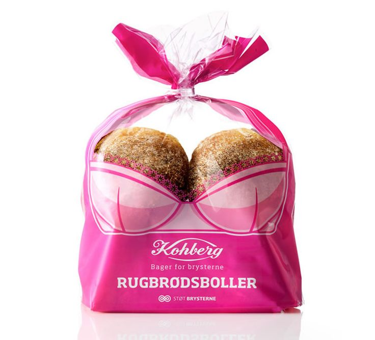 Sexy Buns: To raise awareness and support The Danish Cancer Society, bread manufacturer Kohberg has released a special packaging for their rye bread buns. The design was cleverly executed by Envision.