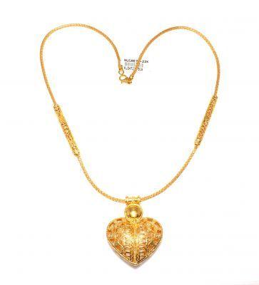22 Ayar Altın Kalp Modeli Elişi Telkari Kolye