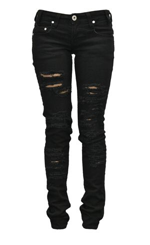 Ripped Black Jeans.. Throw fishnet patterned or lace BBB underneath