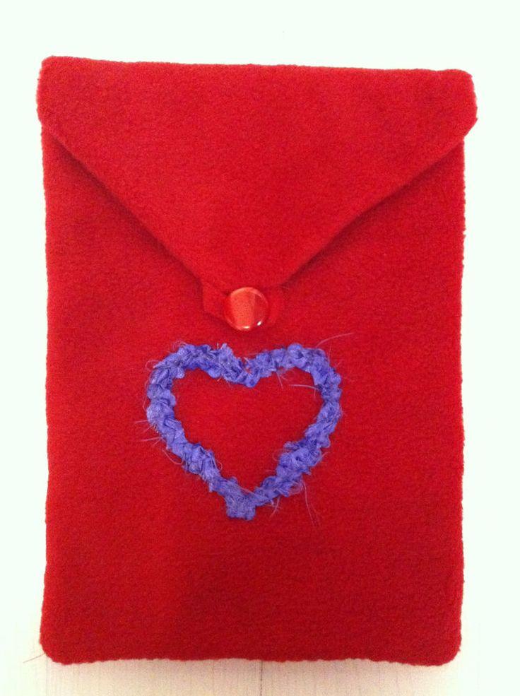 HANDMADE iPad Case - My Frayed Heart - Fits up to 16cm x 23cm. Fleece and Satin.