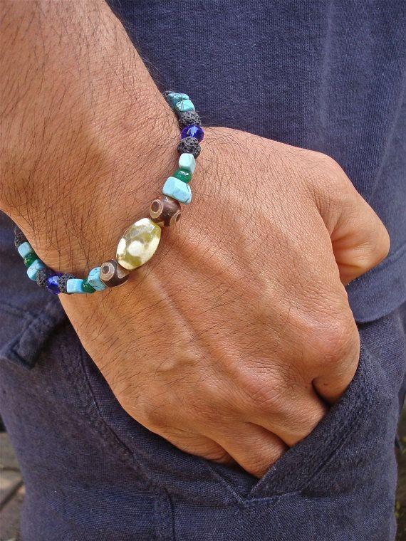 Men's Spiritual Love Bracelet with Tibetan Agates by tocijewelry, $35.00