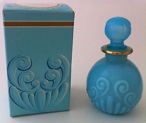 Vintage Avon Bristol Blue Opalesant Glass Moonwind Cologne Bottle w/ Gold Trim