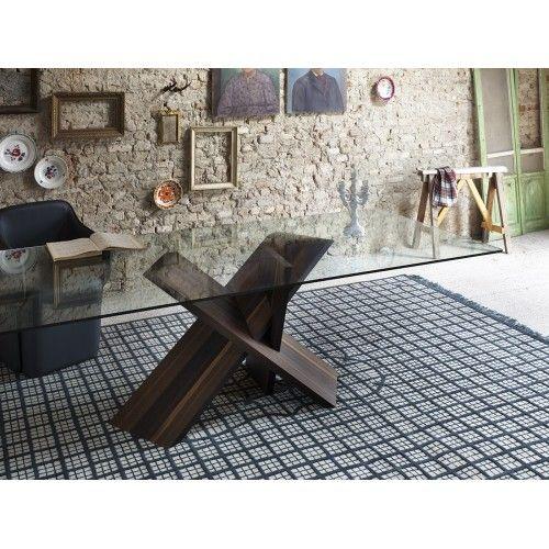 Tripode tavolo con top in vetro e base scultorea di Miniform