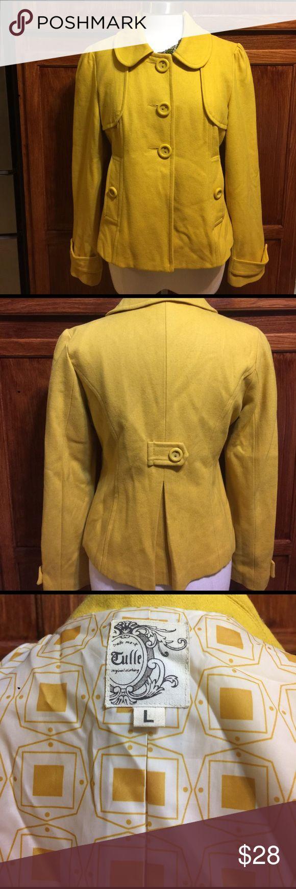📍Tulle mustard peacoat Tulle mustard peacoat with beautiful lining. Tulle Jackets & Coats Pea Coats
