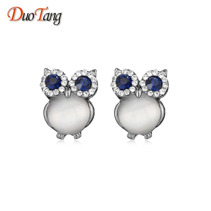 DuoTang Owl Earrings Zinc Alloy Opal Black Gun Plated And Gold Plated Stud Earrings For Women Fashion Accessories E0015