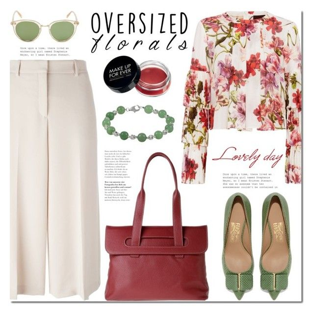 Oversized Florals by mada-malureanu on Polyvore featuring Exclusive for Intermix, Theory, Salvatore Ferragamo, Oliver Peoples, Dudu, dudubags and oversizedflorals