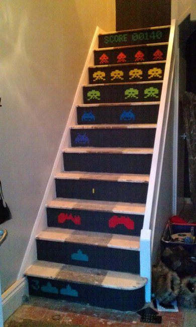 I will have these leading down...or up to my game room