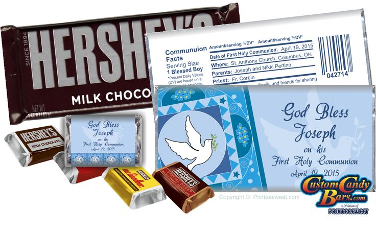 First Holy Communion 5008 custom and personalized Hershey's milk chocolate candy bars and wrapper favors.