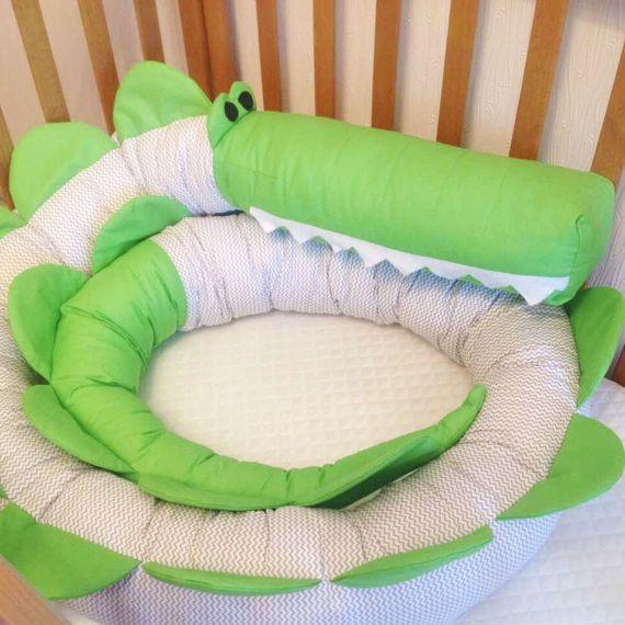 Baby crib bumper CROCODILE Pillow Handmade Baby Bed Bumper