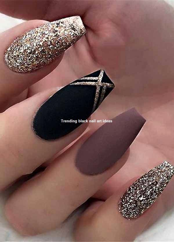 20 einfache schwarze Nail Art Design-Ideen #blacknails #nailartideas – Black nails