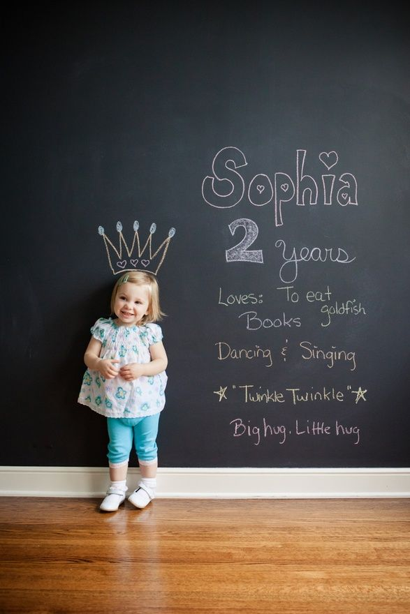 """Need to start doing this each year in front of our chalkboard wall!.... oh my god I have a chalk board wall and I haven't been doing this!!! Fail""""!!"""