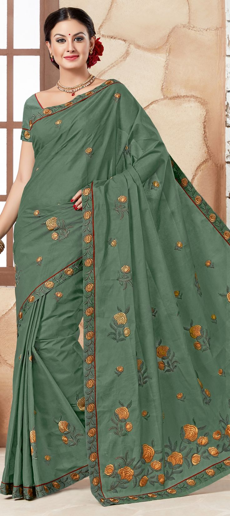 756954 Green color family Embroidered Sarees, Party Wear Sarees in Cotton fabric with Machine Embroidery, Resham, Thread work with matching unstitched blouse.